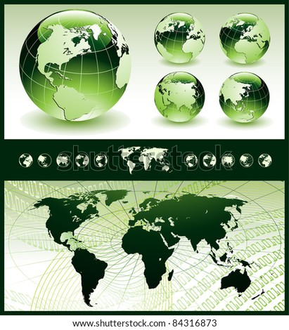 Globes with World Map - stock vector