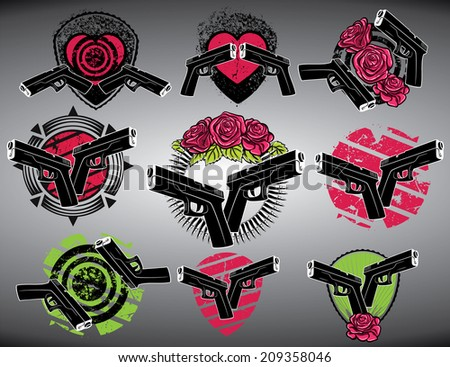 glock gun bullets and decorative flowers grungy background  - stock vector