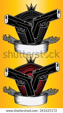 glock weapon design stamps - stock vector