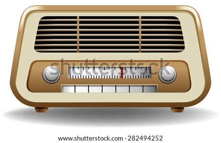 Gloden color frame radio on white background - stock vector