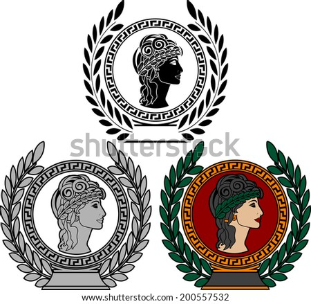 glory of ancient greek woman. vector illustration - stock vector
