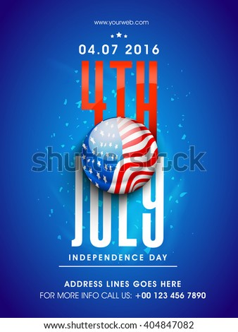 Glossy American National Flag color button with stylish text 4th July on blue background, Pamphlet, Banner or Flyer design for Independence Day celebration. - stock vector