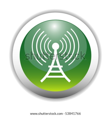 Glossy Antenna  / Wireless Tower Sign Button - stock vector
