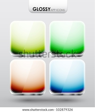 Glossy app icons - stock vector