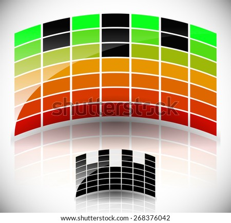Glossy, Arching Equalizer, EQ. Black, Symbol Version Included - stock vector