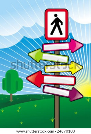 glossy arrow direction for walk - stock vector