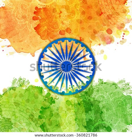 Glossy Ashoka Wheel on floral decorated saffron and green colours splash background for Happy Indian Republic Day celebration. - stock vector