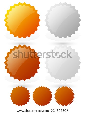 Glossy badge, starburst shapes /gold, silver, bronze, platinum medals, badges. vector illustration./ - stock vector