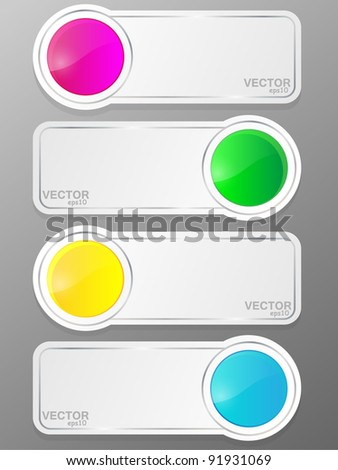 Glossy banner set with place for your text. Vector illustration. - stock vector