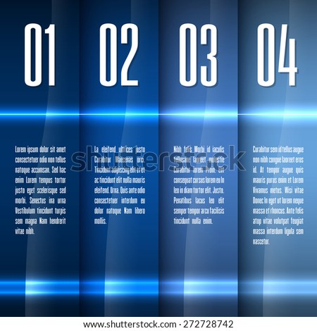 Glossy banners with glowing stripes. Modern vector layout. Blue graphic elements. - stock vector