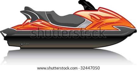 Glossy Big Jet Ski - stock vector