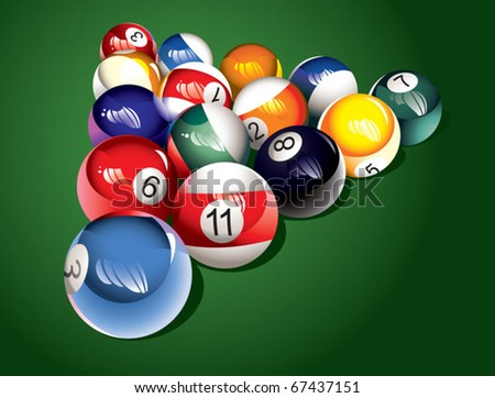 Glossy billiard balls set on the table, vector illustration