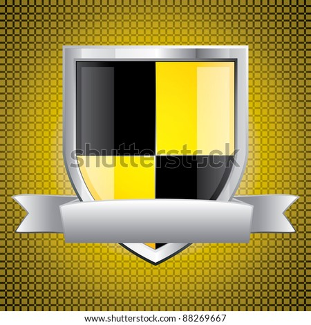 Glossy black and yellow shield emblem on golden background - stock vector