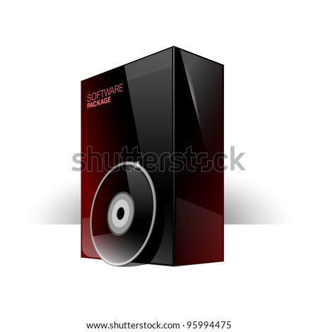 Glossy black box with red reflexes and dvd or cd Disk. eps 10