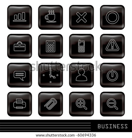 Glossy Black Icons Set - stock vector
