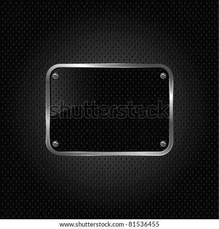 Glossy black plate on a metallic background. - stock vector