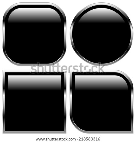 Glossy black shape, button backgrounds - stock vector
