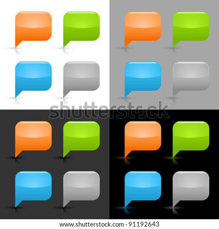 Glossy blank speech bubble icon web internet button with shadow and reflection on four color background. This vector illustration created and saved in 8 eps