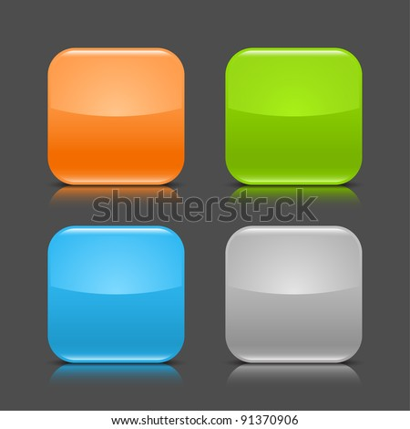 Glossy blank web internet button with black shadow and color reflection. Colored rounded square shapes on gray dark background. This vector illustration created and saved in 8 eps - stock vector