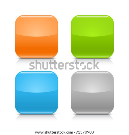Glossy blank web internet button with black shadow and gray reflection. Colored rounded square shapes on white background. This vector illustration created and saved in 8 eps - stock vector
