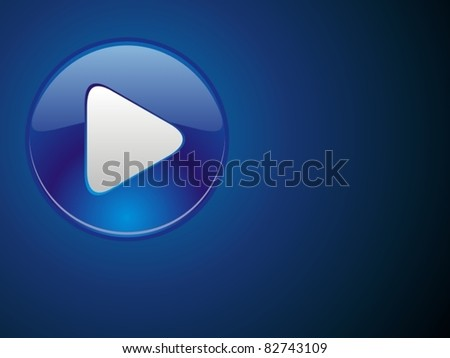 Glossy blue button. Template of flash business presentation - stock vector