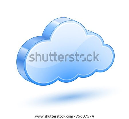 Glossy Blue Cloud with Shadow. Vector Illustration