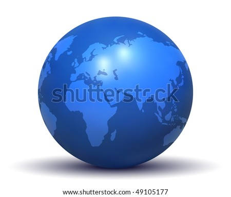 Glossy Blue Earth Globe (Vector) - stock vector