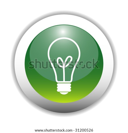 Glossy Bulb Sign Button - stock vector