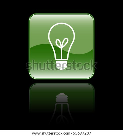 Glossy Bulb Sign Icon Isolated on Black - stock vector