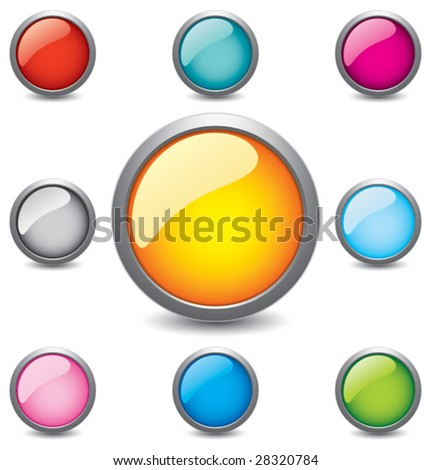 Glossy Button - stock vector