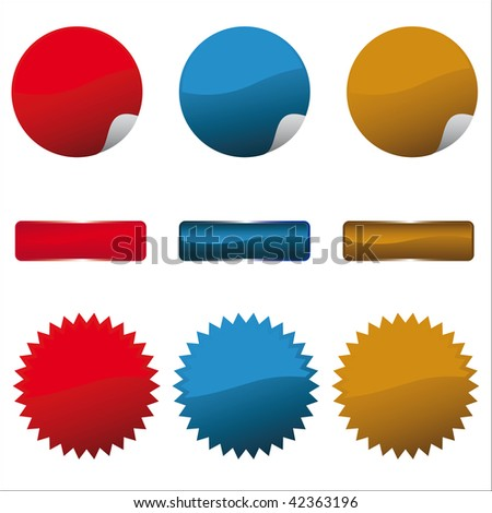 Glossy button and sticker set / vector - stock vector