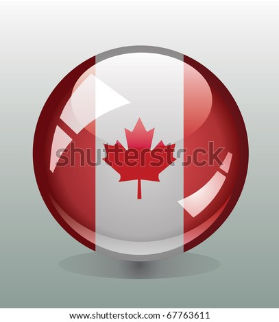 Glossy button badge with flag of Canada - stock vector
