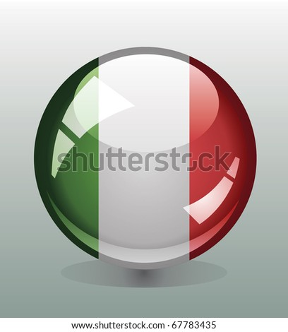 Glossy button badge with flag of Italy - stock vector