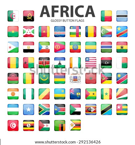 Glossy button flags - Africa. Original colors. Vector EPS10 illustration.  - stock vector
