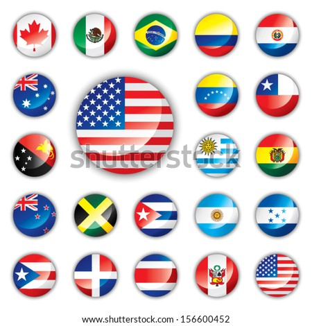 Glossy button flags - America and Oceania. 21 Vector icons. Original size of USA flag in down right corner.  - stock vector