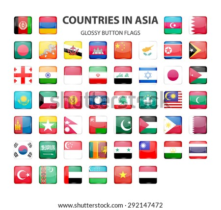 Glossy button flags - Asia.  Original colors. Vector EPS10 illustration. - stock vector