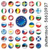 Glossy button flags - Europe. 38 Vector icons. Original size of EU flag in down right corner. - stock photo