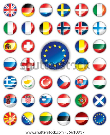 Glossy button flags - Europe. 38 Vector icons. Original size of EU flag in down right corner.