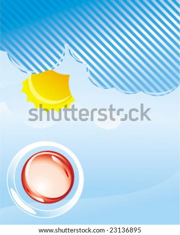 glossy button in the above of sky - stock vector