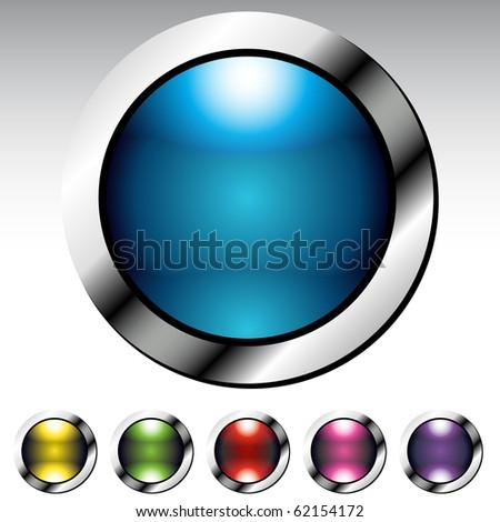 Glossy Button Metallic Set - stock vector