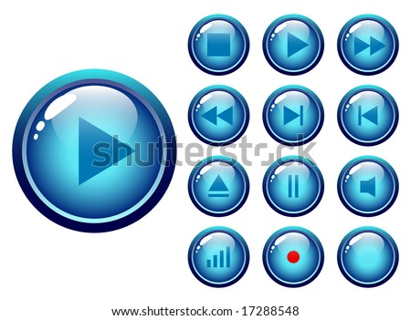 glossy buttons audio-video media controller - vector illustration - stock vector
