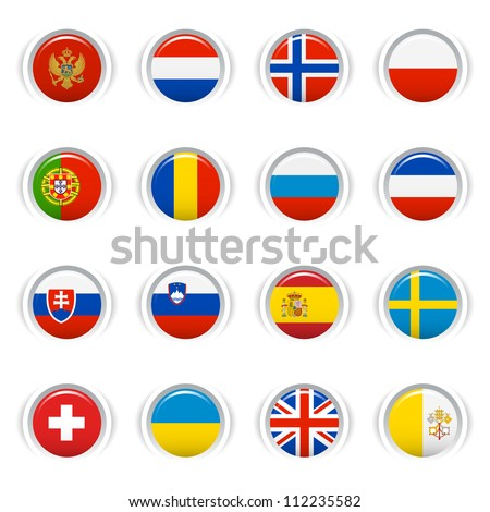 Glossy Buttons - European Flags - stock vector