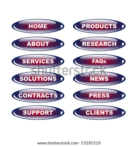 glossy buttons for business content site - stock vector