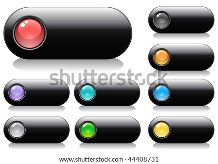 Glossy buttons for web design with spheres, vector illustration - stock vector