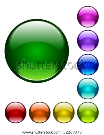 Glossy buttons in various colors - stock vector