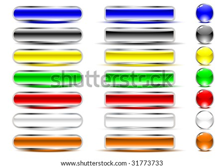Glossy buttons in various colors. Vector.