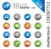 Glossy Buttons - Love and Dating icons - stock vector