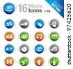 Glossy Buttons - Media Icons - stock vector