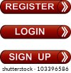 Glossy buttons pack - sign up, register,  login. - stock vector