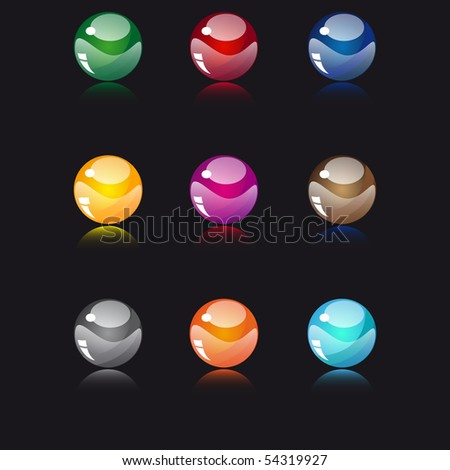 Glossy buttons set - stock vector